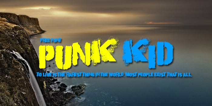 punk kid Stencil Writing Font