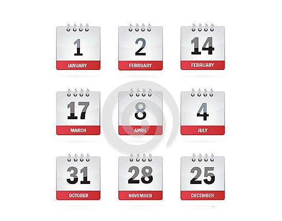 set holiday calendar icons
