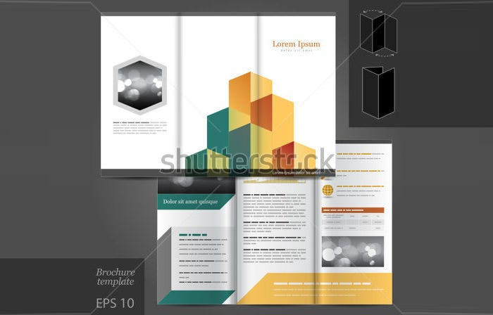 stock vector vector architectural brochure template design with cube elements eps 134387192