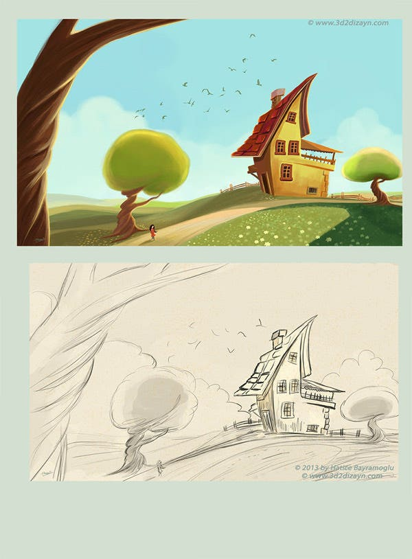 story book landscape illustration
