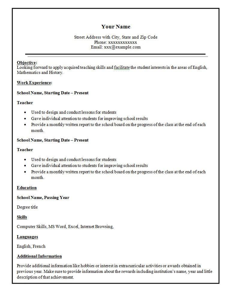 simple teacher resume template