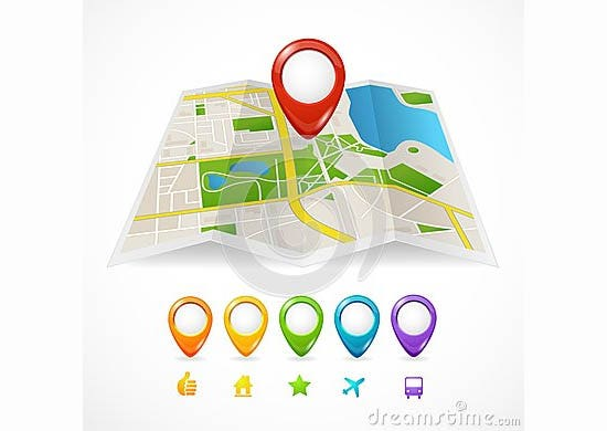 vector city map gps icons