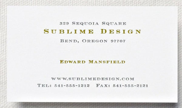 Letterpress Pearl White Business Card