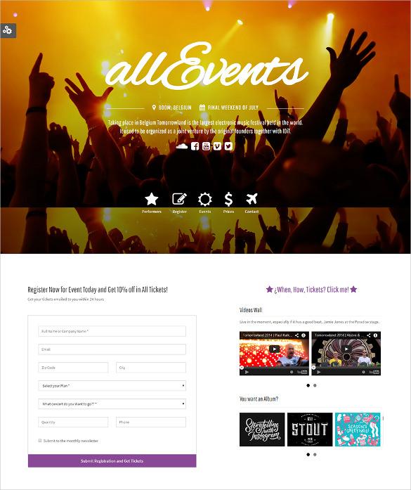 responsive events theme