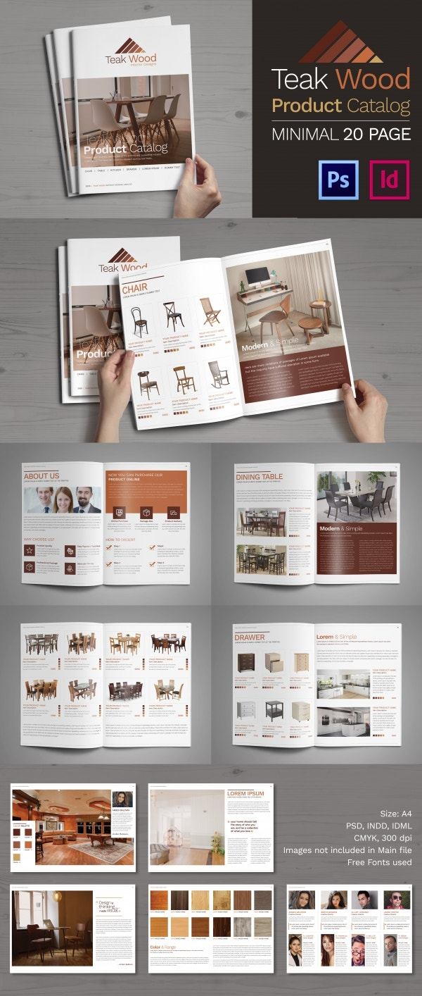 PSD And InDesign Teakwood Product Catalogue Brochure Template
