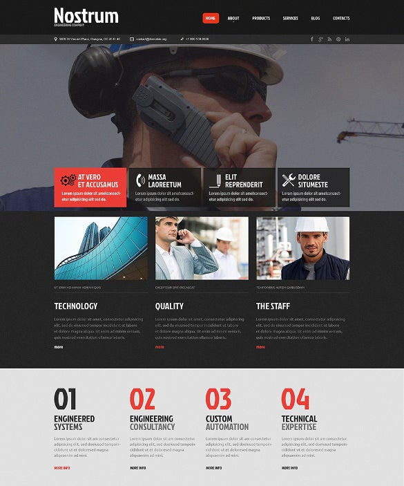 clean construction company website theme