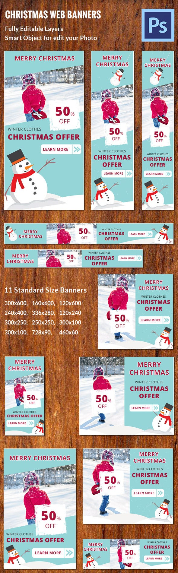 banner ad psd format printable customizable christmas banner ad template