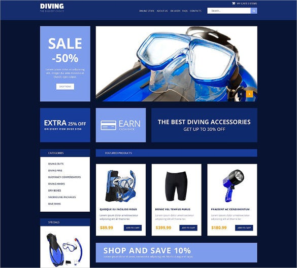 awesome dark blue virtuemart template