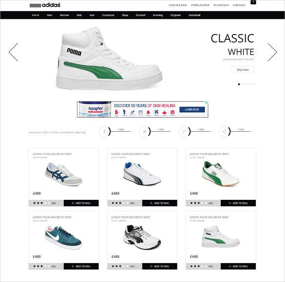 free clean white ecommerce website template download