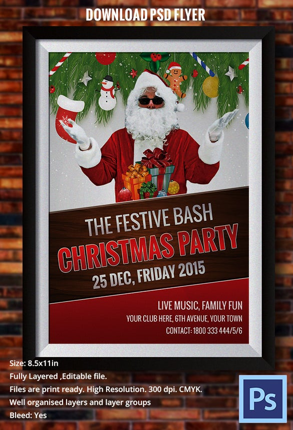beautiful christmas party flyer with santa