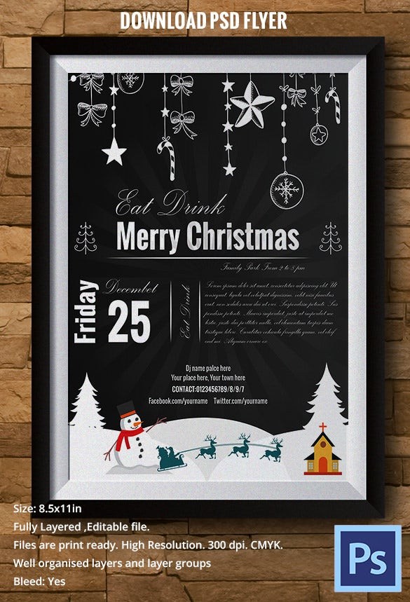 chalkboard style christmas flyer template download