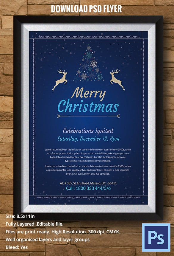 christmas celebrations flyer template psd