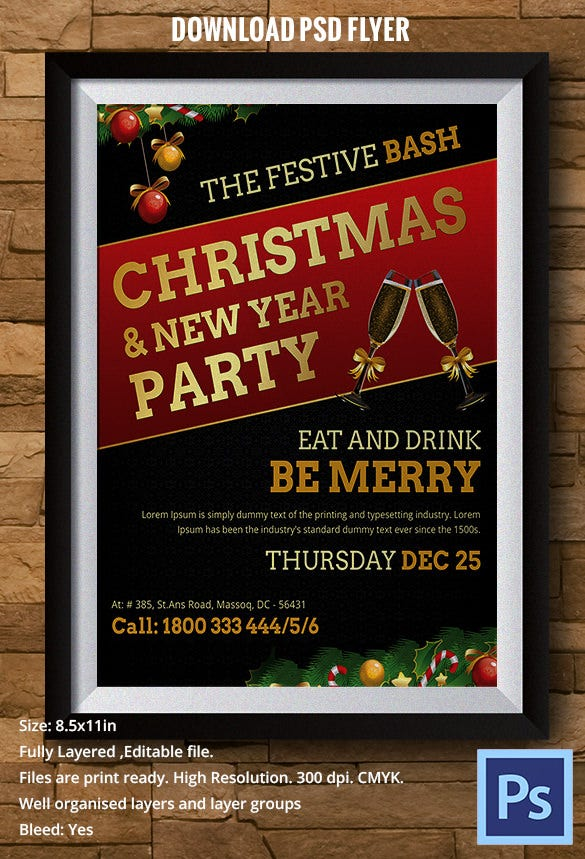 christmas eve party celebration flyer template