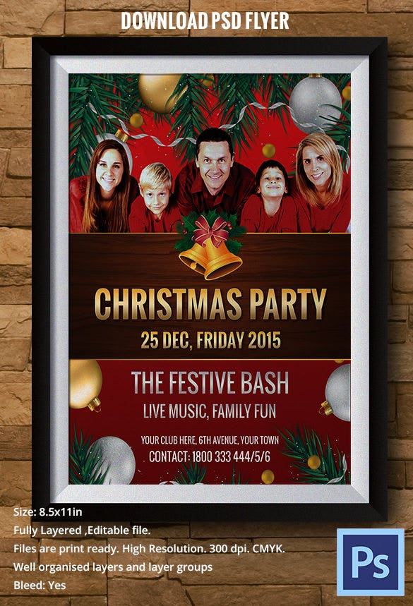 festive bash christmas party flyer