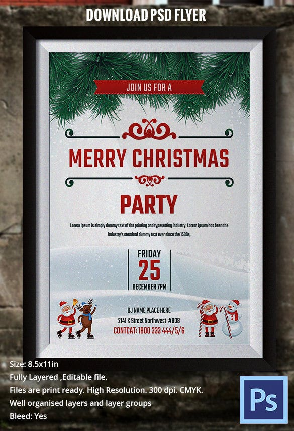 Merry Christmas Flyer Template Winter Style
