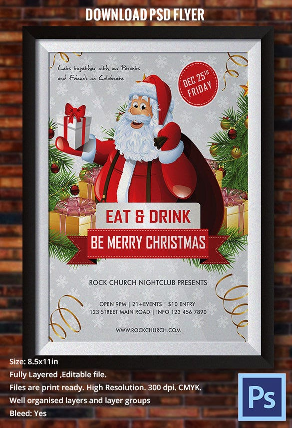 merry christmas flyer template with santa