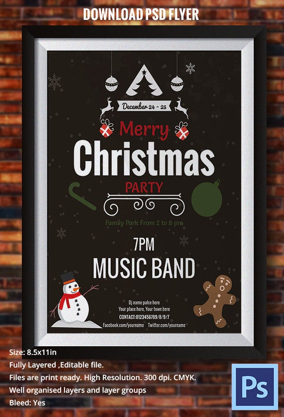 simple christmas party invite flyer template