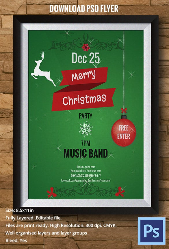 well designed green christmas flyer template