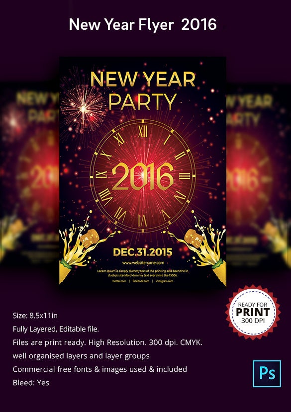Elegant New Year Night Party Flyer Template