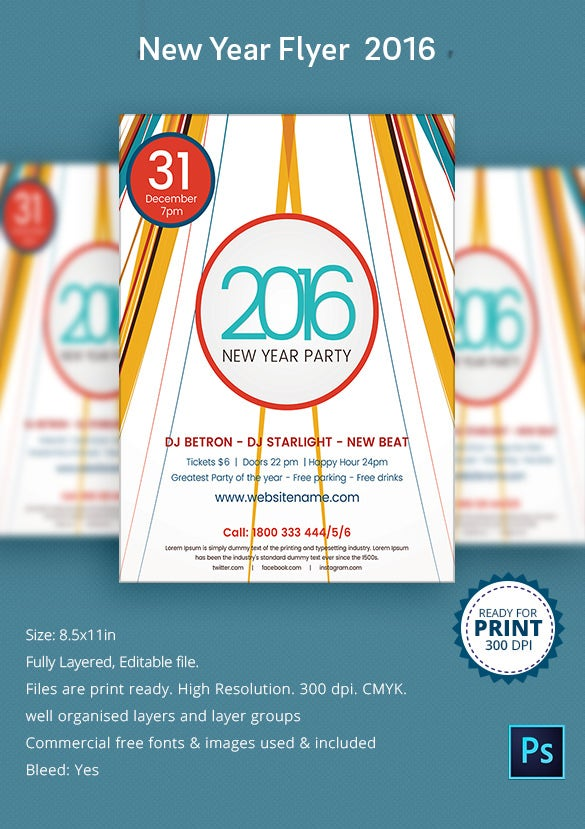 Simple 2016 New Year Party Flyer Printable Version