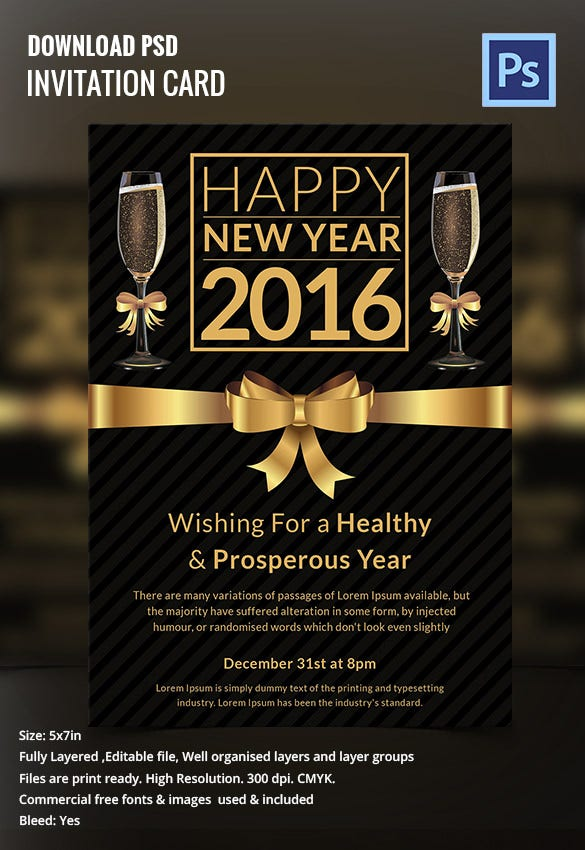 dark new year party night invitation card design