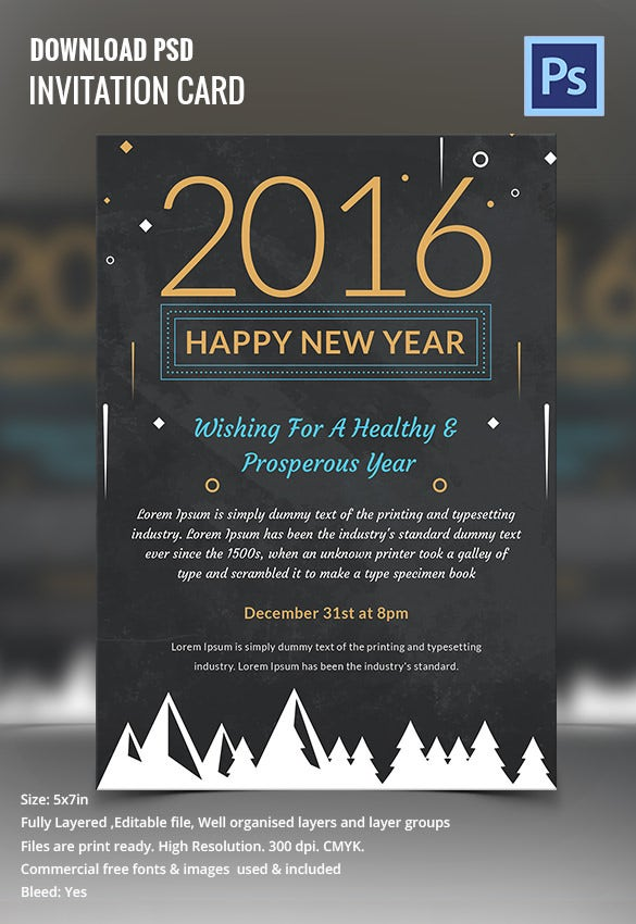 Happy New Year Chalkboard Invitation Template