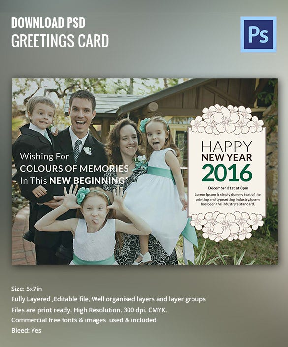 New Year Photo Invitation, Greeting Card Template