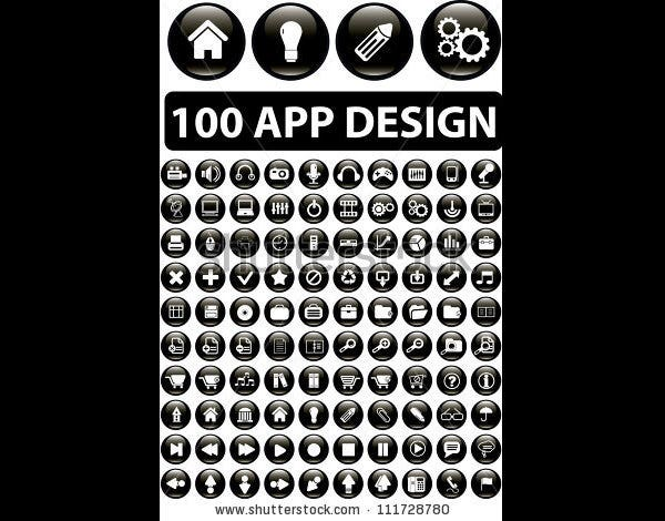 100 app design buttons set