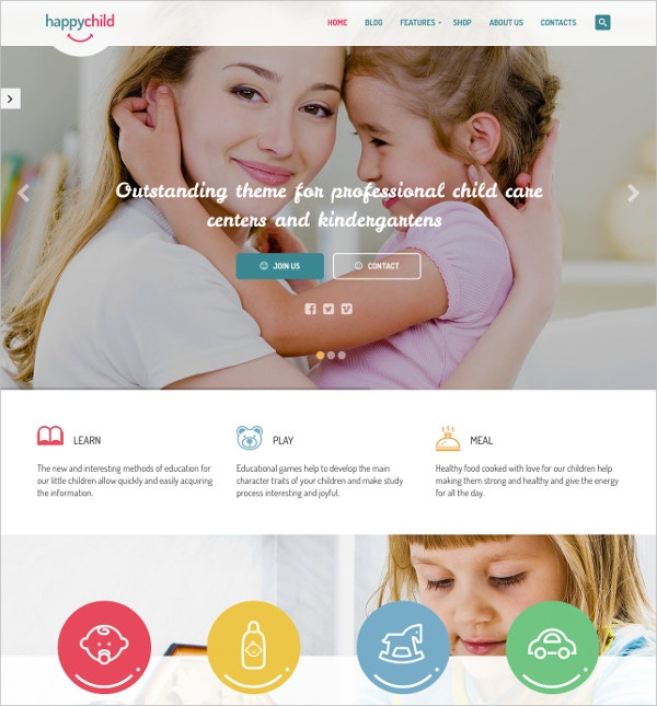 happy child kindergarten wordpress theme download