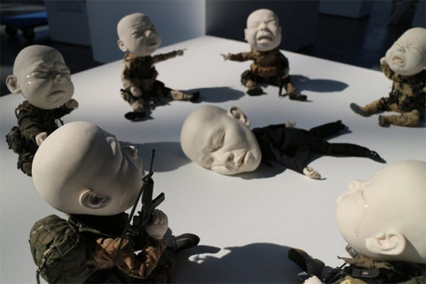 ceramic sculpture design baby crying faces
