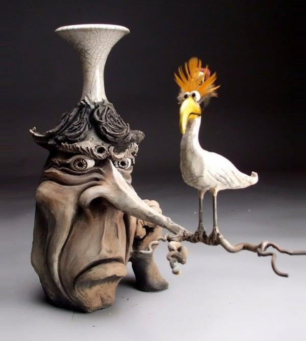 ceramic sculpture design face bird