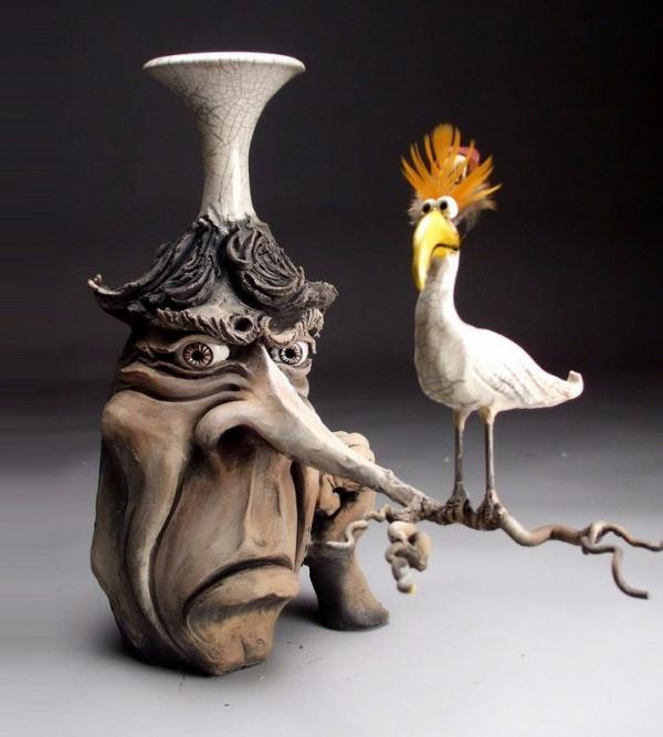 ceramic sculpture artworks bird art