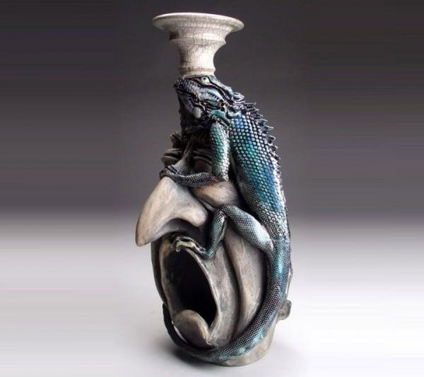 ceramic sculpture artworks raptile on face