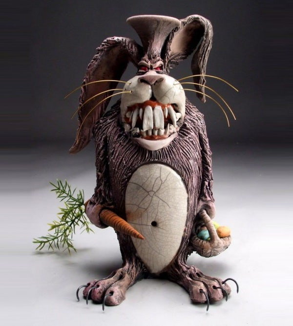 ceramic sculpture artworks rabbit with his food