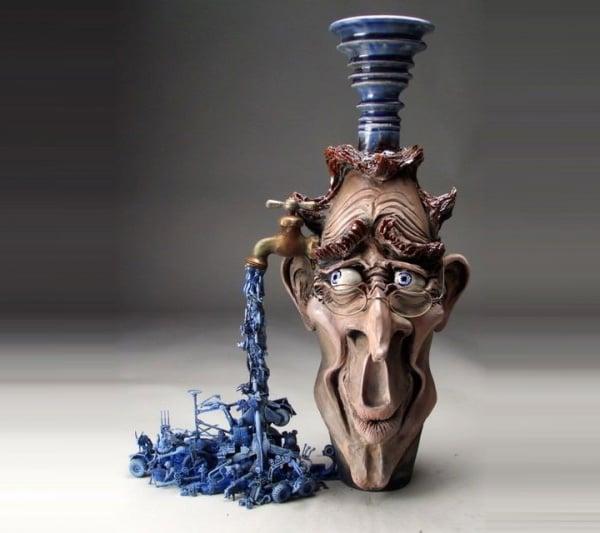 ceramic sculpture artworks face with tap