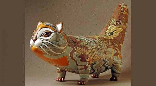 ceramic sculpture artworks new design cat