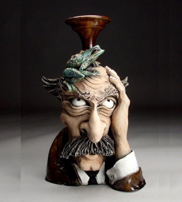 ceramic sculpture artworks man thinking