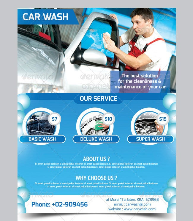 Car Wash Flyer   Free Psd Eps Indesign Format Download  Free
