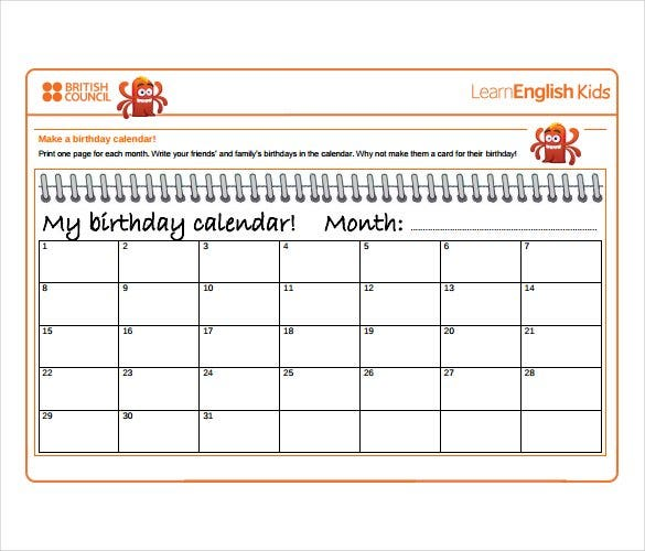 image about Free Printable Birthday Calendar referred to as 46+ Birthday Calendar Templates - PSD, PDF, Excel Free of charge