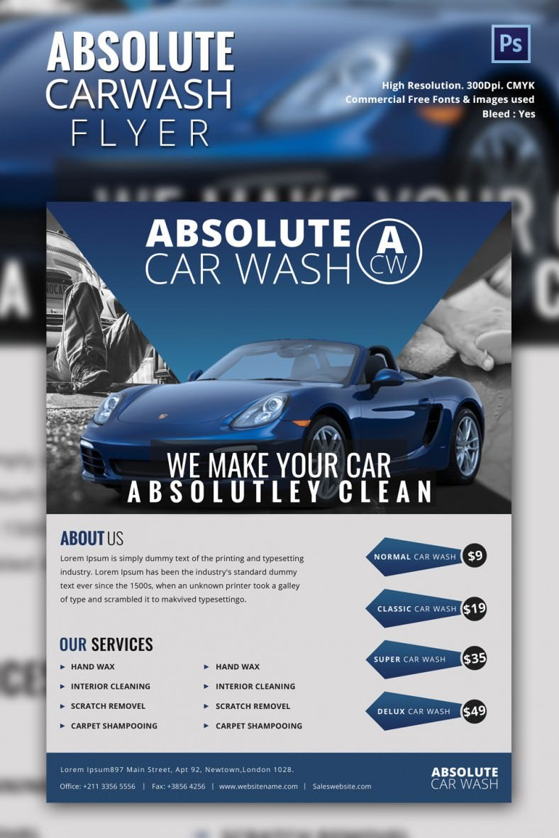 car wash flyer psd eps indesign format carwash mockup 2