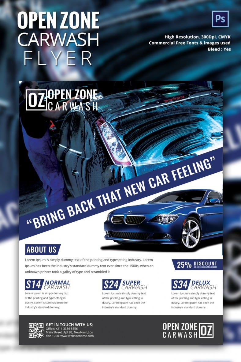 car wash flyer psd eps indesign format carwash mockup 3