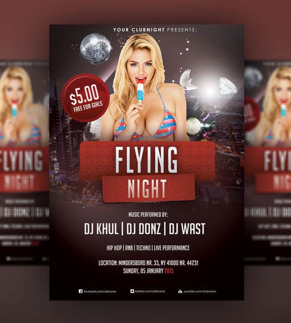 flying night christmas flyer psd template
