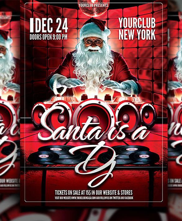 christmas dj flyer santa template psd format