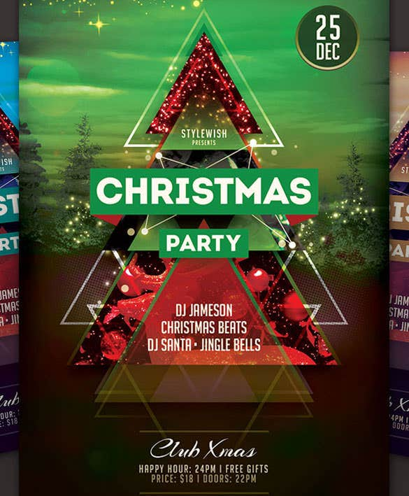 download colourful christmas party flyer html format