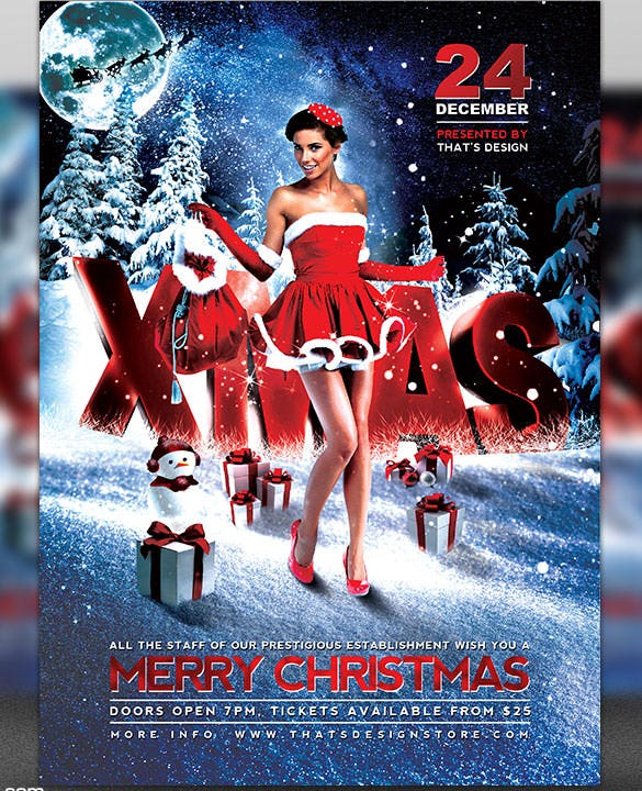 christmas bash flyer template psd design