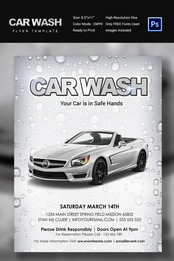 Car wash flyer 48 free psd eps indesign format for Car wash poster template free