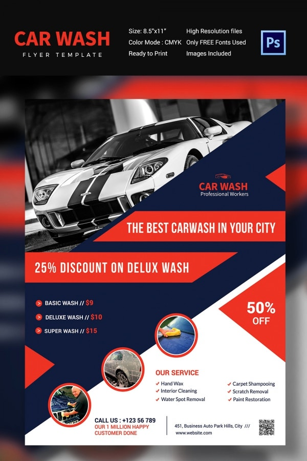 Car Wash Flyer   Free Psd Eps Indesign Format Download