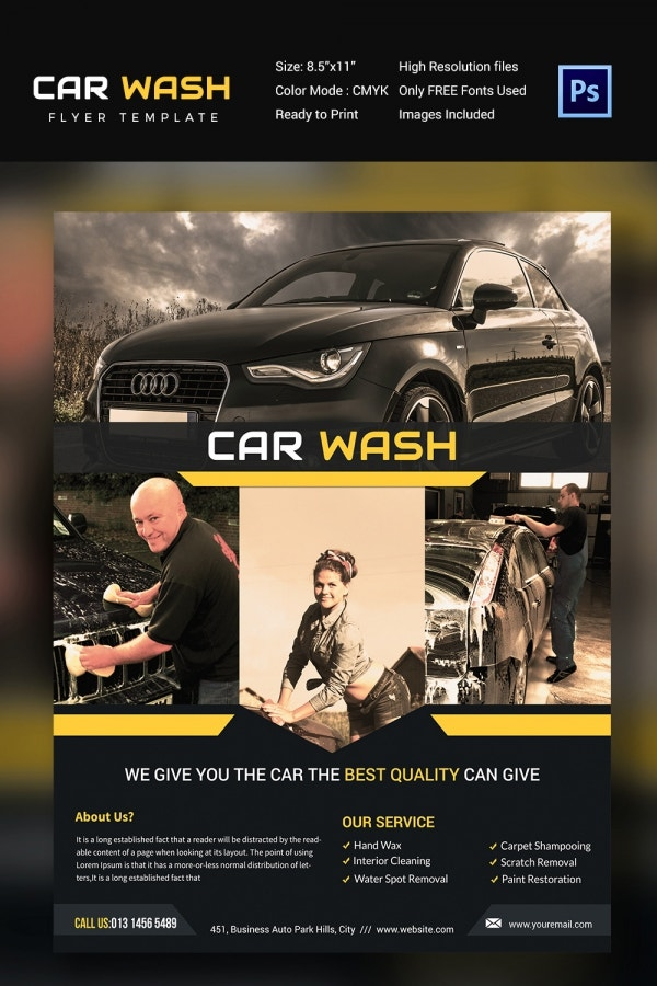 Best Quality Car Wash Flyer Template