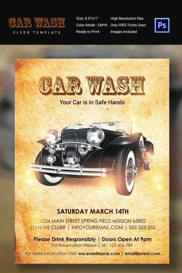 Traditional Car Wash Flyer Template