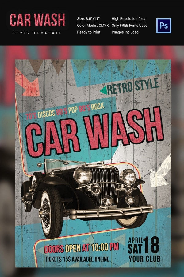 Car wash flyer 48 free psd eps indesign format for Car wash tickets templates free